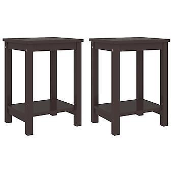 vidaXL bedside tables 2 pcs dark brown 35x30x47 cm pine solid wood