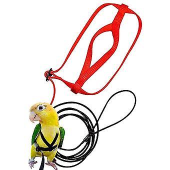 Papegøje Bird Seletøj Udendørs Flying Traction Straps Band Justerbar Anti-Bite Training Rope