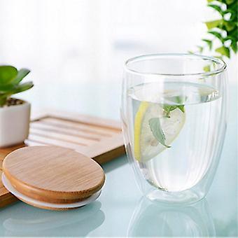 Doppelschicht Wand klar Glas Teetasse + Bambus Deckel Set Glas Kaffee Milchbecher