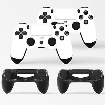 GNG 2 x hvit PlayStation 4 PS4 kontroller skins full wrap vinyl klistremerke