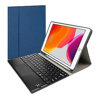 Qwert بلوتوث لوحة المفاتيح الحافظة لباد 10.2 الهواء 10.5 Pro10.5 لوحات المفاتيح الجلدية اللاسلكية (الأزرق)