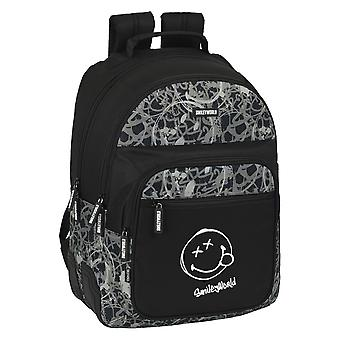 School Bag Smiley Urban Flow Black