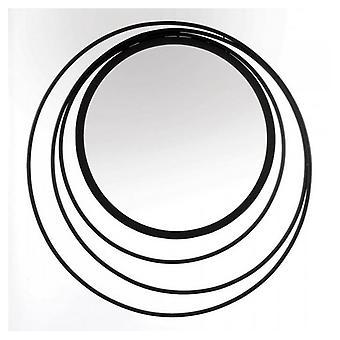 Accent Plus Cercles dans cercles Miroir mural en métal noir, Pack de 1