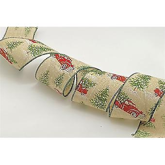 Christmas Tree With Truck - Wire Edged Ribbon 2.5 inches Wide - 3 Metres