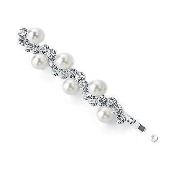 Elegant Crystal & Faux Pearl Design 5cm Metal Hair Grip