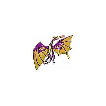 Balloons 36 inch purple dragon shaped foil balloon - air or helium