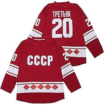 Vladislav Tretiak #20 Cccp 1980 Ussr Cccp Russian Ice Hockey Jersey Red