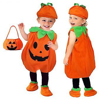 Baby Halloween Kostüm Kürbis Cosplay Kleinkind Kind Kürbis Print Ärmelloser Strampler Jumpsuits + Hüte Baby Kleidung 2pcs Kostüme
