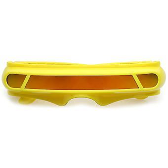 Futuristisk Cyclops skjold farget speil Mono linse vikle solbriller 147mm