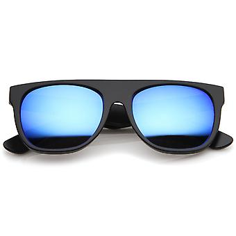 Modern Super Flat-Top Wide Temple Colored Mirror Lens Horn Rimmed Sunglasses 55mm