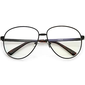 Oversize Classic Metal Aviator Eye Glasses With Clear Teardrop Lens 62mm