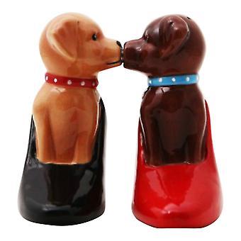 Leuke puppy in hoge hak pompen Salt and Pepper Shaker Set