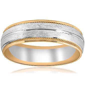 Goldton zwei 6mm Facette schneiden Hochzeitsband Mens neuer Ring