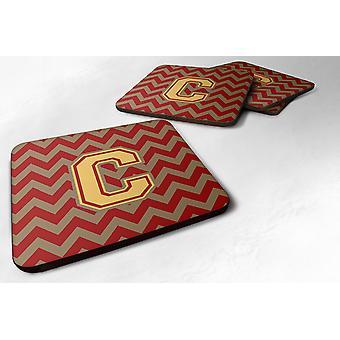 Set van 4 Letter C Chevron Garnet en goud Foam onderzetters Set van 4