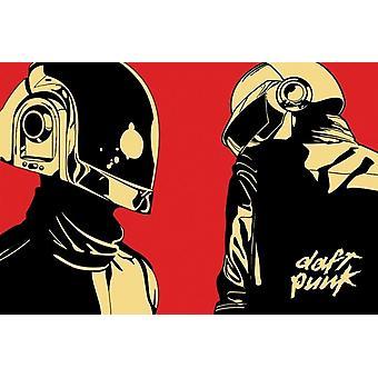 Daft Punk Cartoon Helmets Poster Poster Print