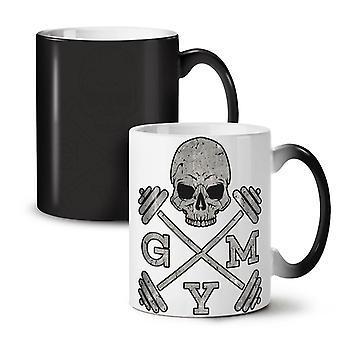 Skull Gym Fitness Sport NEW Black Colour Changing Tea Coffee Ceramic Mug 11 oz | Wellcoda