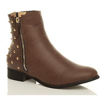 Ajvani женская низкий каблук zip шипованных лодыжки ковбой западных обувь Сапоги пинетки