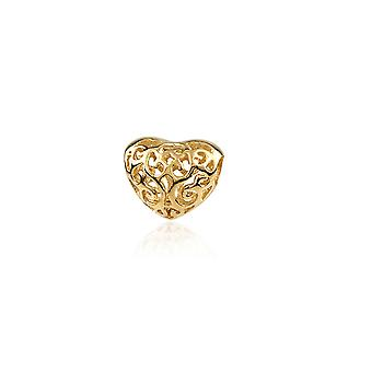 Charms Beads Coeur Argent 925 plaqué Or jaune 1392