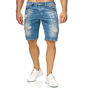 Bermuda de mens Jeans Shorts Denim extensible Capri déchiré trous fissures Summer pantalon