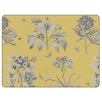 Sanderson für Pimpernel Radierungen & Rosen gelb Tischsets, 6er Set