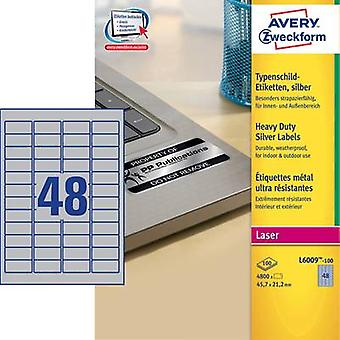 Avery-Zweckform L6009-100 Labels 45.7 x 21.2 mm Polyester film Silver 4800 pc(s) Permanent Nameplates Laser, Copier