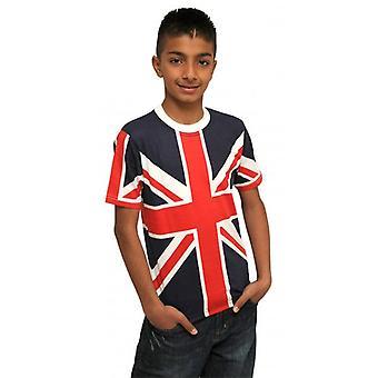 Union Jack Kids Union Jack T shirt met rugnummer dragen