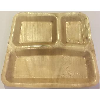 環境にやさしい使い捨てパーティー プレート - 23 cm × 22 cm の長方形 3 パーティション プレート (25 枚)