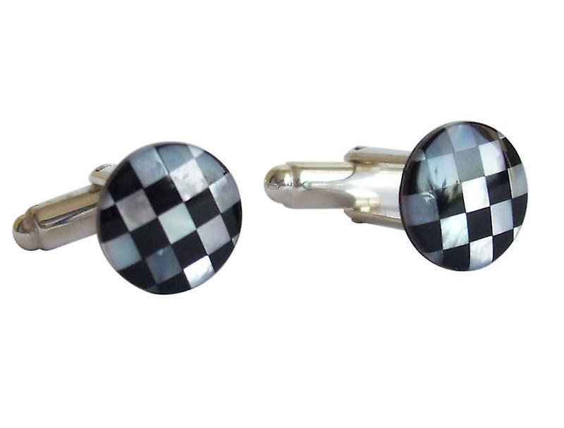 Manschettenknöpfe FRITJOF Onyx schwarz und Perlmutt 925 Silber