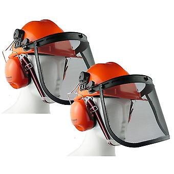 2 x Chainsaw Forestry Brushcutter Safety Helmet C/W Metal Mesh Visor Chin Strap