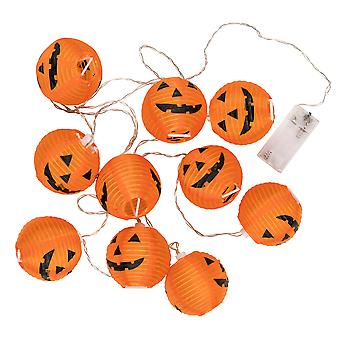 TRIXES 1x String with 10 Pumpkin Lantern Halloween Lights – 2.3m Length Battery Operated Halloween Decoration
