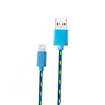 Stuff Certified® iPhone / iPad / iPod Lightning USB Charging Cable Braided Nylon Charging Data Cable 1 Meter Data Blue