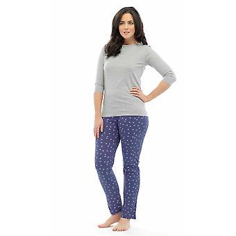 Ladies Tom Franks Star Print Polycotton Long Pyjama pajama Lounge Wear Sleepwear 8-10 Grey Top