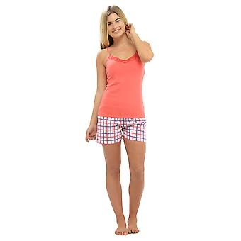 Ladies Strappy Jersey Top & Printed Shorts Summer Pyjama pajama Sleepwear