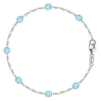 Blue Synthetic Resin Bead Chain Anklet In Sterling Silver