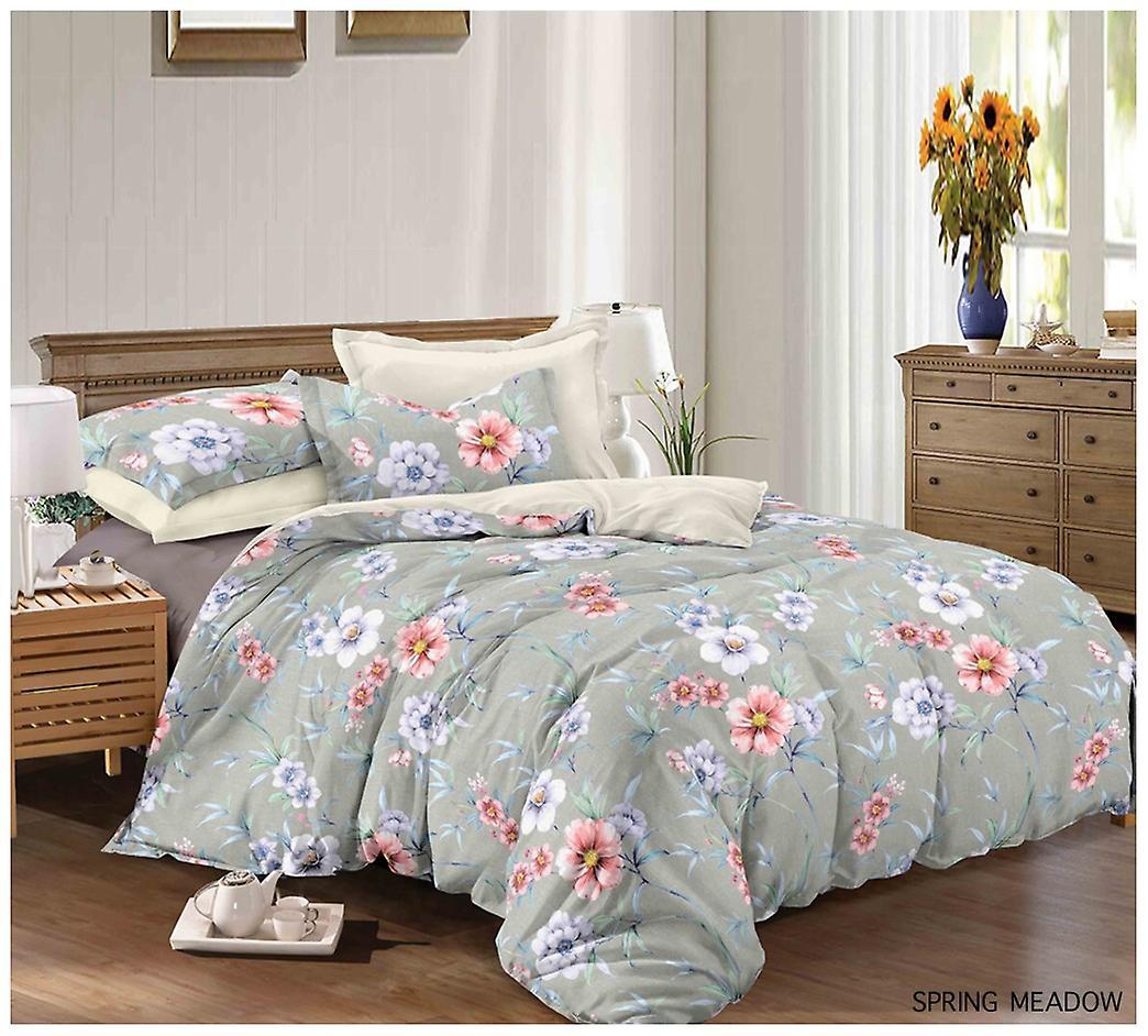 Spring Meadow Painted Duvet Quilt Cover Floral Bedding Set Pillow Case