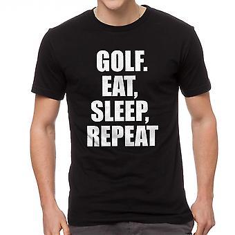 Pelaa urheilu syödä nukkua toista lainaus graafinen musta t-paita