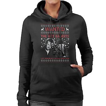 Wanted Wet Bandits Home Alone Christmas Knit Pattern Women's Hooded Sweatshirt