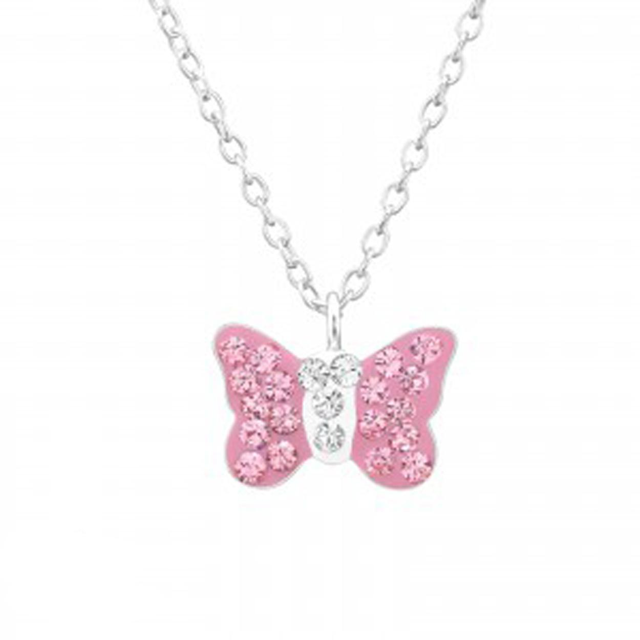 Girls silver necklace with pink Swarovski crystal butterfly pendant