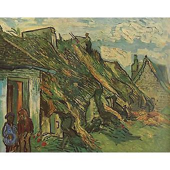 Rieten zandsteen huisjes in Chaponval, Vincent van Gogh, 65x81cm