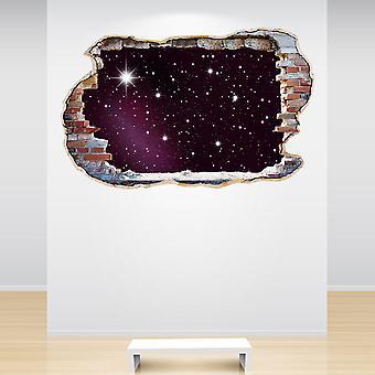 نجوم اللون الكامل تحطيم الجدار 3D تأثير الجدار اللاصق