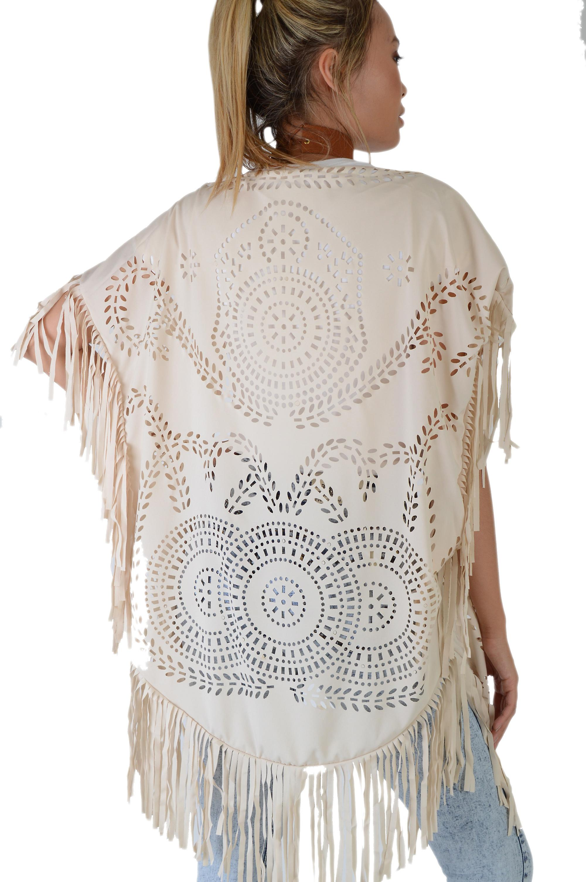LMS Nude Kimono Featuring Laser Cut And Tassels - SAMPLE