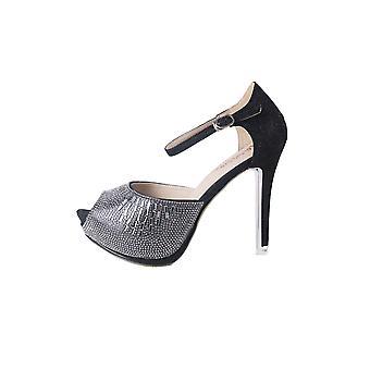 LMS paillettes noires Platform Peep Toe chaussures avec sangle de cheville
