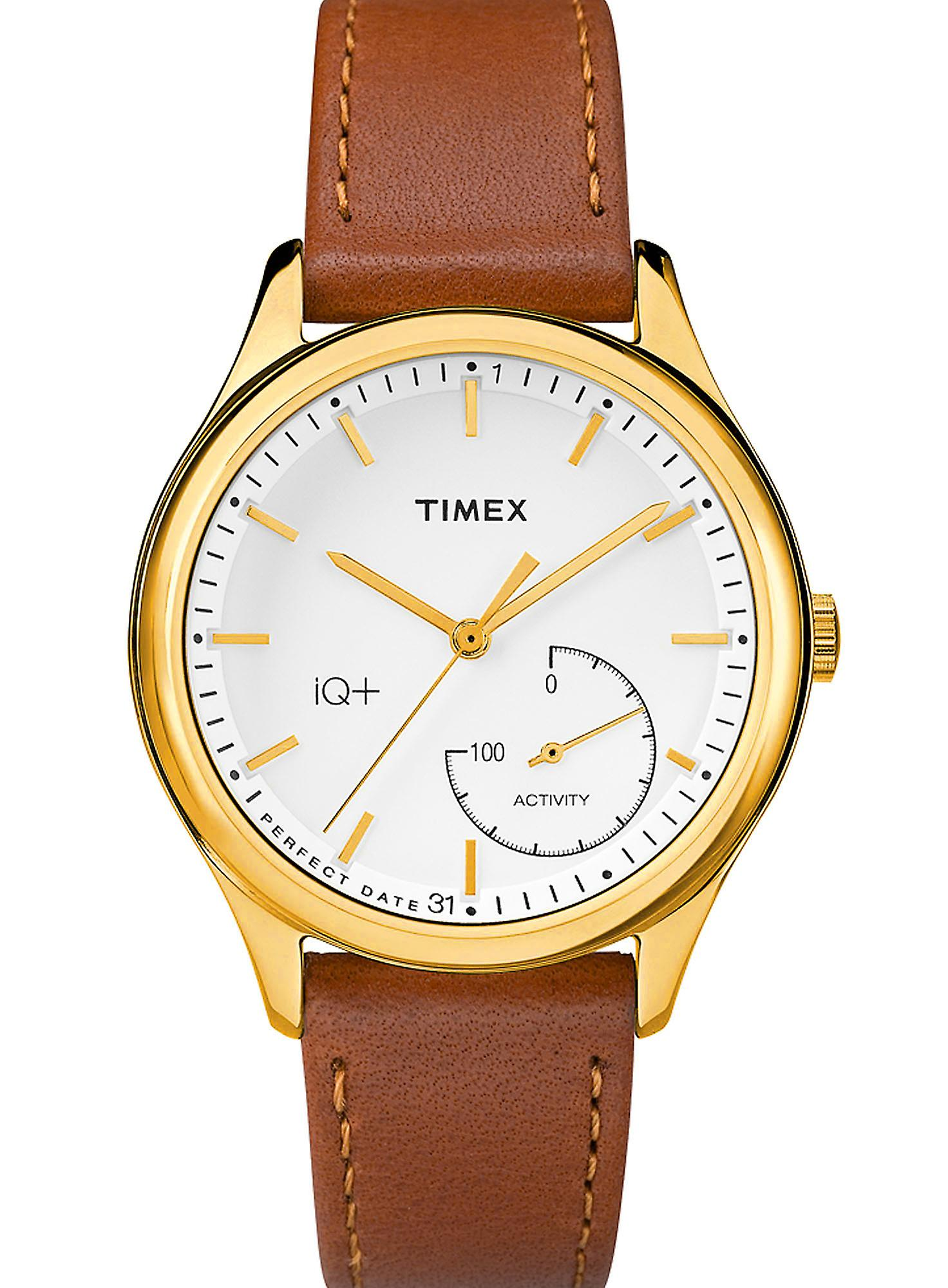 Timex Style Elevated Gold Plated Case Brown Leather Strap Ladies Watch TWG013600 36mm