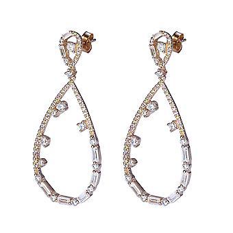 Orphelia Silver 925 Earring Rose scheur-vormige met grote en kleine zirkonium steentjes - ZO-7423/RG