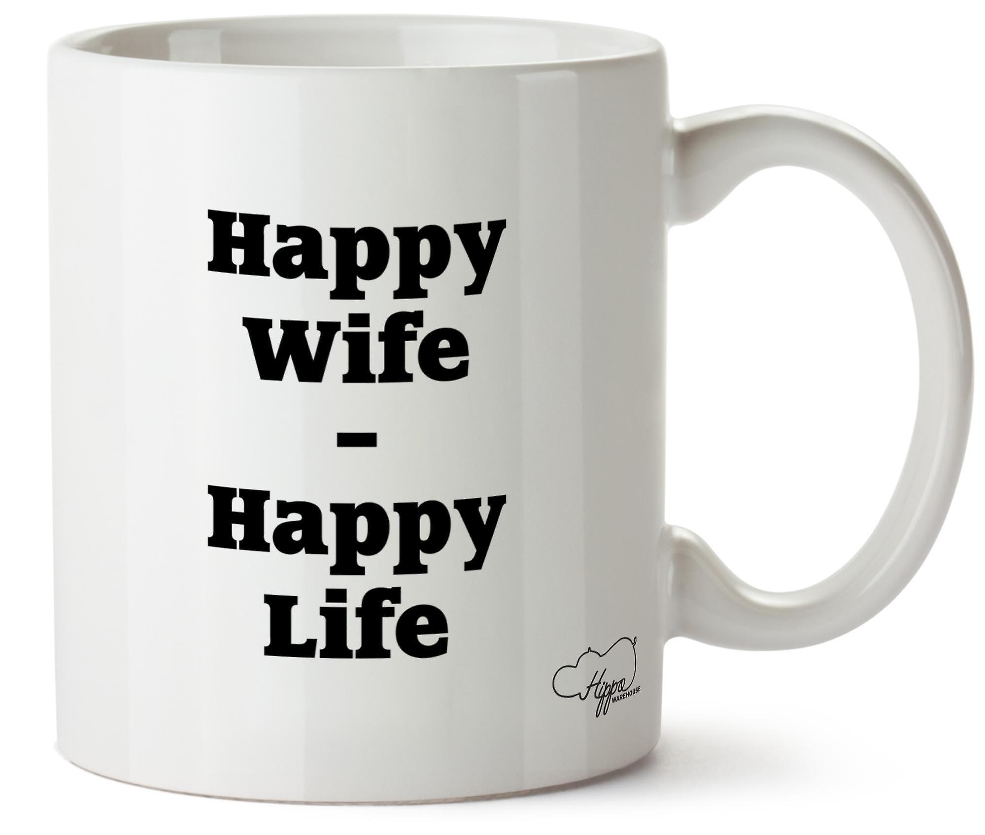 Hippowarehouse счастливая жена счастливой жизни напечатаны Кубка керамическая кружка 10oz