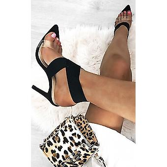 IKRUSH Womens Claudia Lycra Perspex Crossover Heels