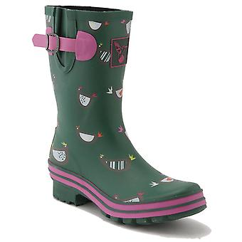 Evercreatures Ladies Calf Rubber Wellies Chicken Print Pattern - Various Sizes