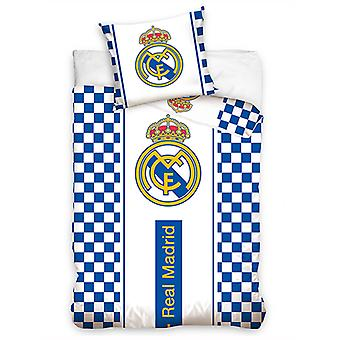 Real Madrid CF White Checked Single Duvet Cover - European Size