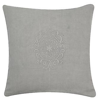 Clayre & Eef romantisch geborduurd Plain-gekleurd kussensloop grijs 40x40 cm