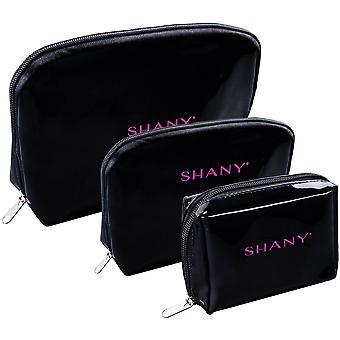 シャニーブラックフェイクパテントレザーコスメティッククラッチセット - 内部ポケットとブラックナイロンインテリア付き3つのポータブルおよび防水トイレタリーバッグ - 3 PC